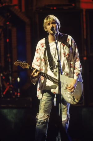 Kurt Cobain performs on stage with Nirvana at the MTV Video Music Awards, September 10, 1992. Photograph: Frank Micelotta/Getty Images