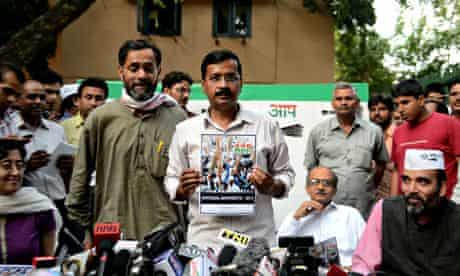 Arvind Kejriwal, the leader of India's Aam Admi party, releases his election manifesto in New Delhi