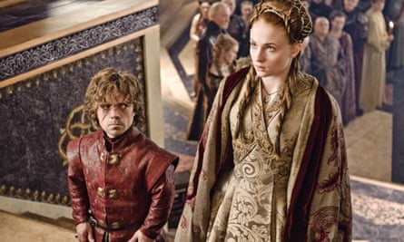 HBO shows Peter Dinklage, left, and Sophie Turner in a scene from