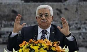 Palestinian president Mahmud Abbas speaks