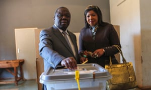 Morgan Tsvangirai cast his ballot in 2013 presidential elections with his second wife, Elizabeth.