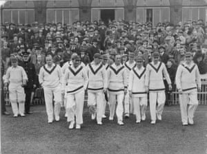 memory lane: The Lancashire Team coming out to field