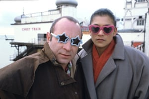 Bob Hoskins and Cathy Tyson filming on Brighton Pier the set of Neil Jordan's Mona Lisa in 1986.