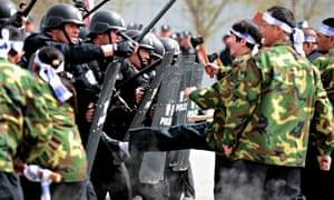 Riot police in Xinjiang, China