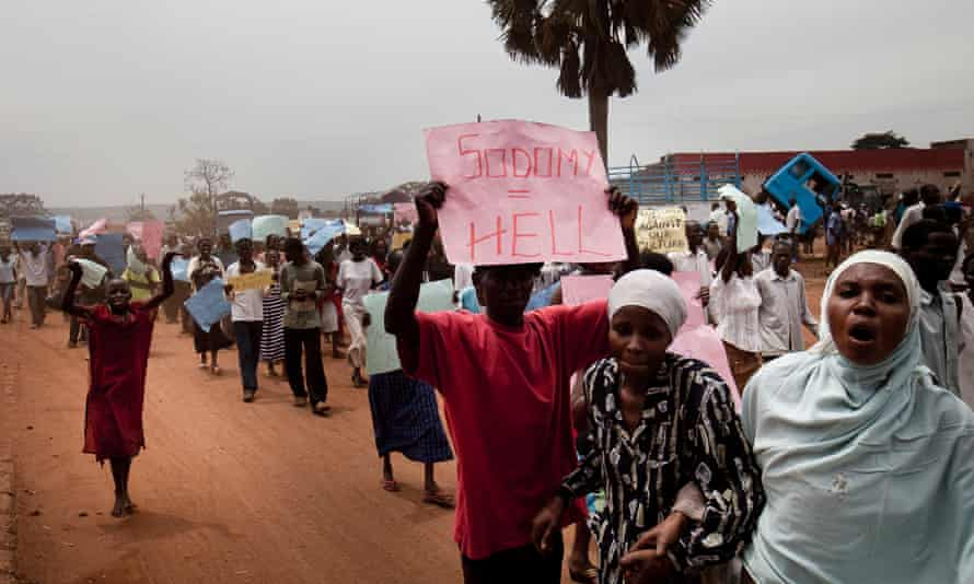 Ugandans demonstrate against homosexuality in the streets of Jinja, Uganda.