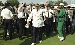Umpire Dickie Bird atfer his last test match