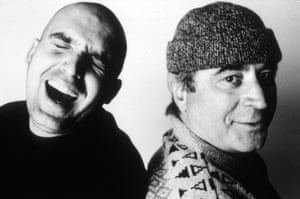 Shane Meadows and Bob Hoskins photographed while filming Meadow's Twenty Four Seven in 1997.