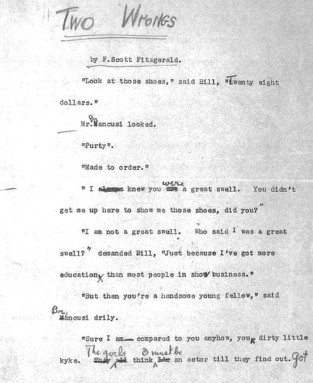 F Scott Fitzgerald manuscript