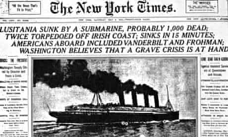 New York Times front page about the Lusitania