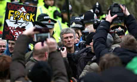 Bez is swamped by photographers during an anti-fracking protest at Barton Moss, near Manchester