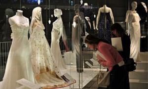 People view wedding dresses