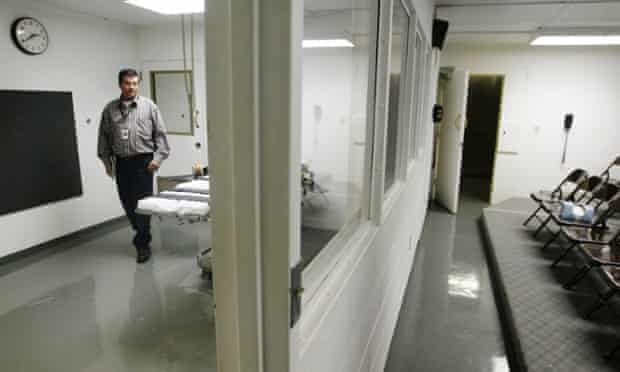 The gurney in the execution chamber at Oklahoma state penitentiary.