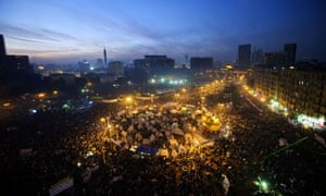 Tens of thousands of protesters gather in Tahrir Square in November 2012.