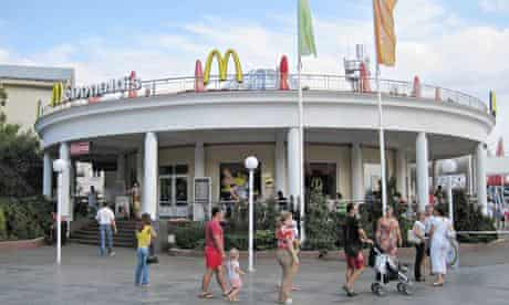 Closed down … the McDonald's on the seafront in Yalta in Crimea.