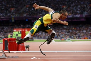 South Africa's Oscar Pistorius competes in the men's 400-metre athletics semi-final in the Olympic Stadium at the 2012 London Games