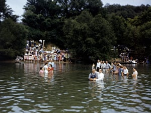Revival converts are baptized in the White River, Arkansas