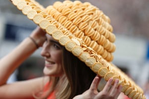 A hat made out of Mini-Cheddar cheese biscuits.