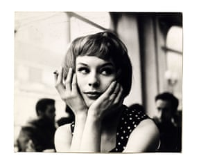 Portrait of an unknown girl in a cafe, 1960's.
