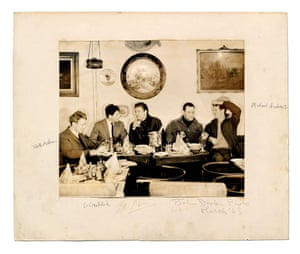 Timothy Behrens, Lucien Freud, Francis Bacon, Frank Auerbach And Michael Andrews at Wheeler's, Old Compton Street, 1963.