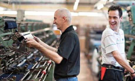 Staff at the Hawick Knitwear factory in the Borders keep the 50 year old machines working smoothly