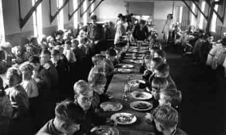 Crowded school dining hall