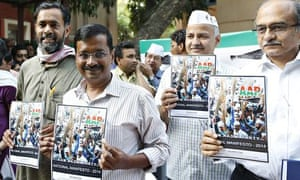 Aam Aadmi (Common Man) party leaders, with Arvind Kejriwal second from left