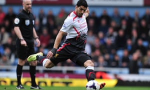 Luis Suarez takes aim from an early free kick at Upton Park.
