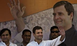 Rahul Gandhi at an election rally in New Delhi
