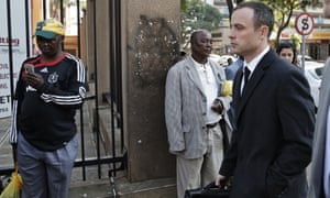 Oscar Pistorius arrives today for his trial.