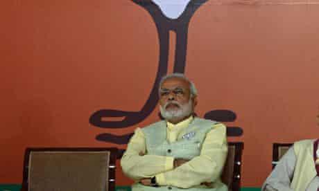 The Bharatiya Janata party's candidate Narendra Modi at the release of the manifesto.