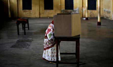 A woman casts her vote in Dibrugarh, Assam, in the Indian election.