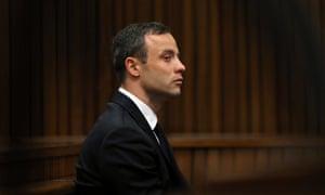 Oscar Pistorius listens in court today.