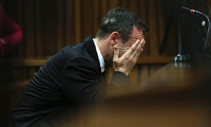 Oscar Pistorius is upset during this morning's hearing.