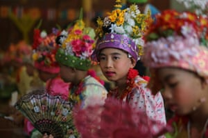 Tai Yai boys at the Poy Sang Long festival  in Thailand. Young boys aged between 7 and 14 from the Tai Yai, an ethnic group in Burma and northern Thailand are ordained as novices to learn the Buddhist doctrines.