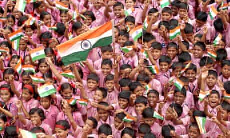 School children celebrate Indian Independence Day