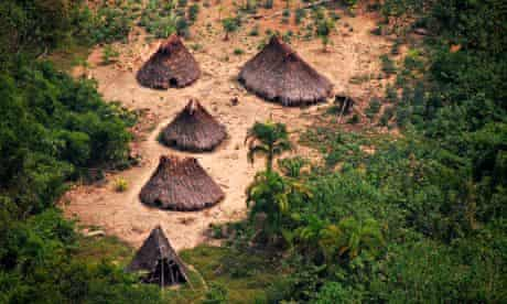 Huts of indigenous people in the Peruvian jungle