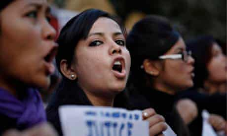 Students protest against a leader of the ruling Congress party accused of rape.