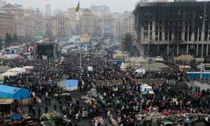 People gather during a rally in Kiev's Independence Square last month.
