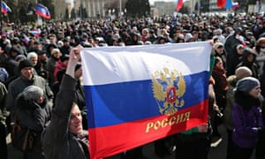 A rally for secession referendum at Lenin Square, Donetsk, Ukraine