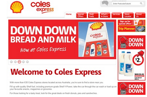 Coles milk campaign on its website in 2013.