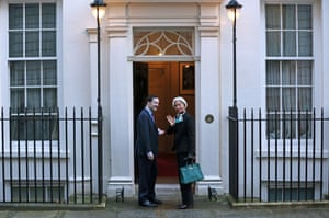 Chancellor George Osborne greets the Head of the IMF, Christine Lagarde to 11 Downing Street on February 4, 2014 in London, England.