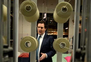 British Chancellor of the Exchequer George Osborne during a visit to AW Hainsworth and Sons textile manufacturer on October 24, 2013 in Leeds, England.