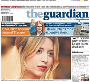 Peaches Geldof front page