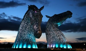 A lighting test is carried out on the Kelpies in Falkirk ahead of their official opening to the public later this month. Designed by sculptor Andy Scott each of The Kelpies stands up to 30 metres tall and each one weighs over 300 tonnes at the entrance to the North Sea at the Forth and Clyde canal.