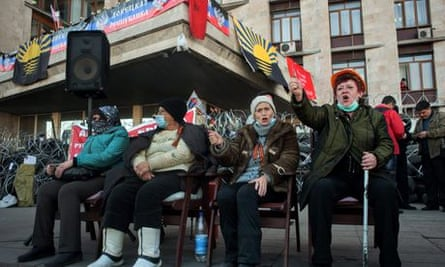 Pro-Russian protesters in Donetsk