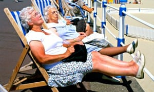 Elderly women snoozing in deckchairs