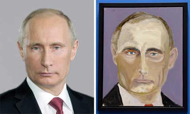 Vladimir Putin in an official portrait alongside his likeness by George Bush