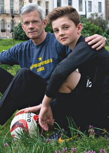 football dads: piers feltham with his son sam