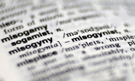 A photo showing the dictonary entry for 'misogyny'
