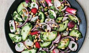 Radish, cucumber and red onion salad with mint and orange blossom dressing